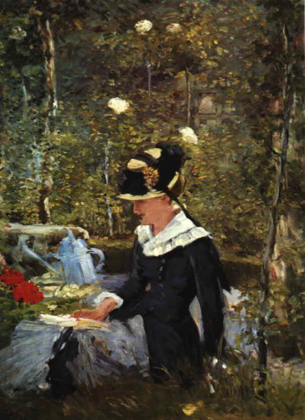 Jeune Fille dans un Jardin