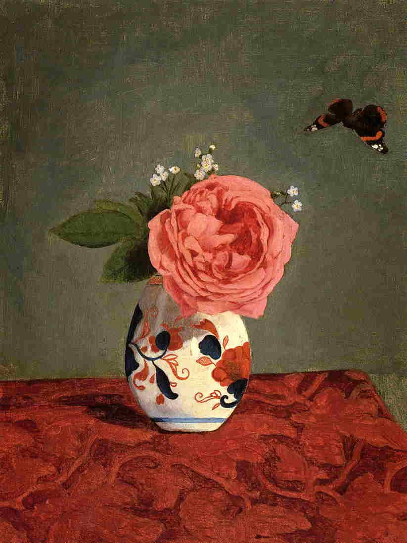 Rose du Jardin et Bleus 'Ne m'Oubliez Pas' (Myosotis) dans un Vase