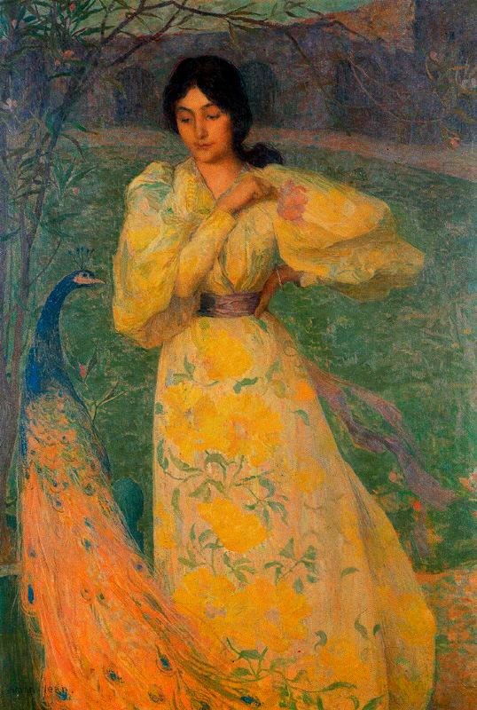 Young Girl with Peacock